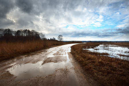 Dramatic sky above the field before the rain, dirt road close-up. Latvia. Flowing water, flood. Atmospheric spring rural scene. Nature, seasons, ecology, environment, climate change, fickle weather 写真素材