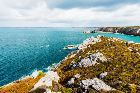 View of an ocean lagoon at Pointe de Toulinguet in Brittany, France Stock Photo