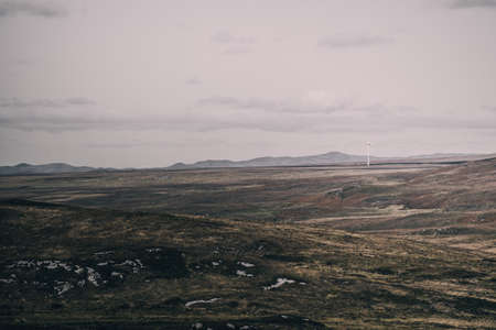Panoramic view of the valleys hills and rocky shores of Isle of Islay. Inner Hebrides, Scotland, UK. Idyllic landscape. Travel destinations, national landmark, recreation, environmental conservation