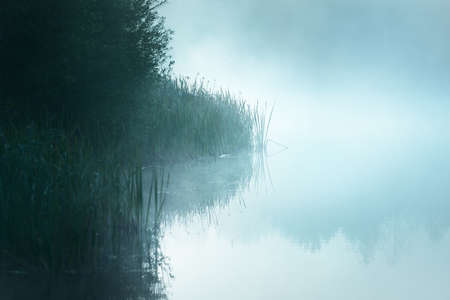 Picturesque scenery of the forest lake in a thick white fog. Reflections on the water. Dark atmospheric landscape. Fall season. Nature, ecology, environmental conservation, eco tourism