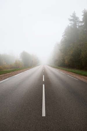 Empty asphalt road (highway) in a thick fog. Concept urban autumn landscape. Transportation, dangerous driving, speed, freedom, travel, tourism, vacations, emptiness, loneliness, the way forward