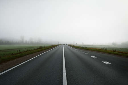 Panoramic view from the car of the empty highway through the fields and forest in a fog at sunrise. Europe. Transportation, logistics, travel, road trip, freedom, driving. Rural scene