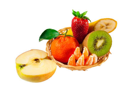 Fresh fruit plate: strawberries, kiwi, apple, banana, tangerines photo