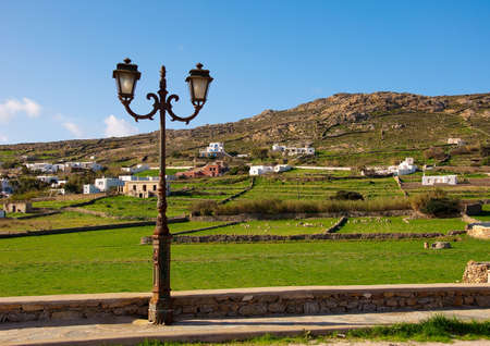 One street light on the background of green pastures with livestock photo