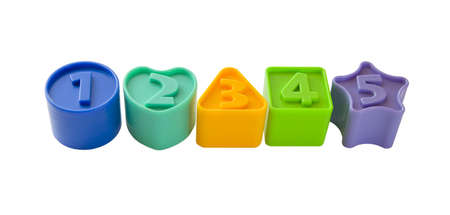 a number of colorful figures with numbers from one to five on a white background.  (circle, square, triangle, star and heart) photo