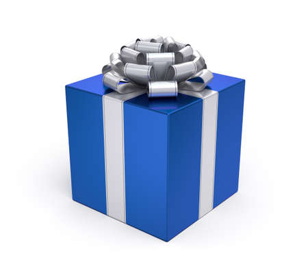 blue box: Gift box with silver bow and ribbon Stock Photo