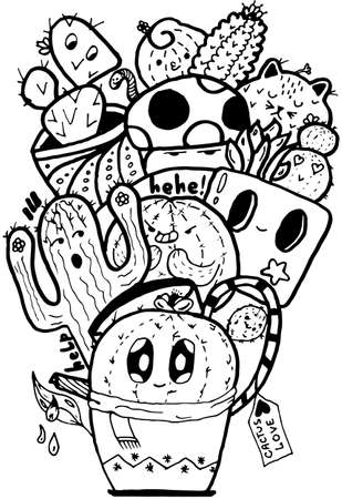 Cactus Love Easy Doodle black and white isolated pattern Illustration