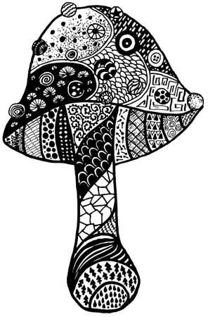 Magic Mushroom Amanita Doodle black and white isolated