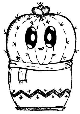 Cute shy cactus cartoon icon