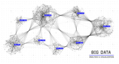 Global data network. Social graph connections. Communication network. Cluster of connected nodes. Abstract background