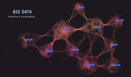 Abstract big data visualization concept. Cluster analysis. Social media graph. Distributed computing network.