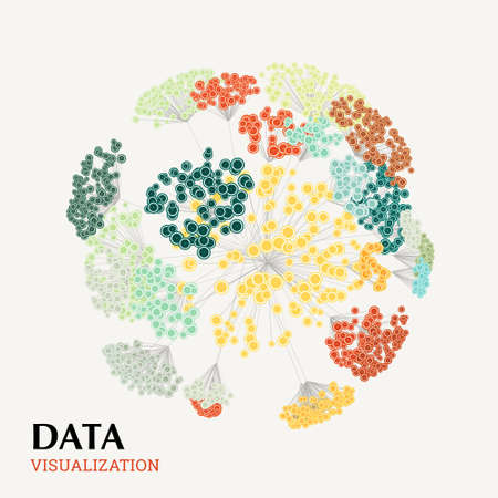 Abstract 3D big data visualization concept. Infographics design. Cluster analysis.
