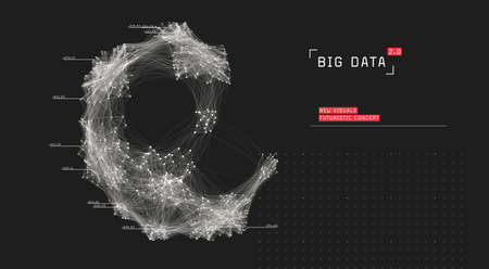 Big data visualization. Cluster computing network. Social media connections. Globe of connected nodes.