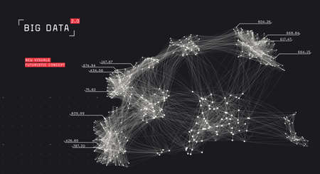 Big data visualization. Cluster computing network. Social media connections. System of connected nodes.