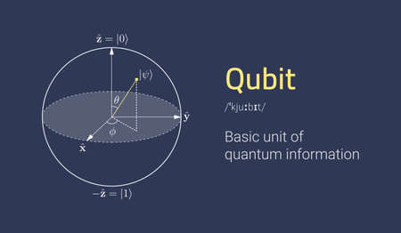 Quantum bit concept representation. Visualization of qubit. Monochrome clean background. Vector eps10 Illustration