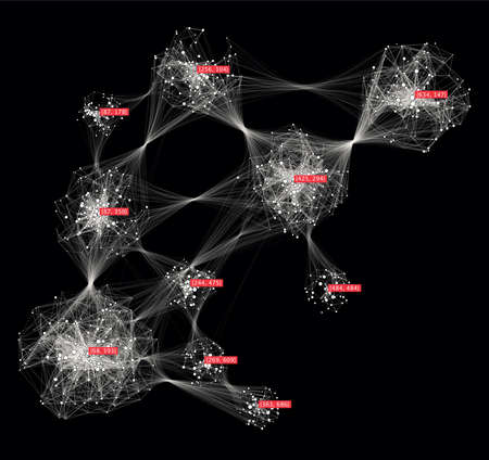 Big data creative visualization. Cluster computing concept. Information clustering representation. Social media graph of users. Stock Photo