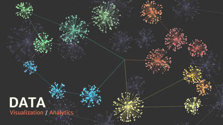 Big data complexity visual representation. Cluster analysis visualization. Advanced analytics. Graphic abstract background. Eps10