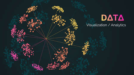 Vector abstract big data visualization. Visual information complexity. Information clustering representation.