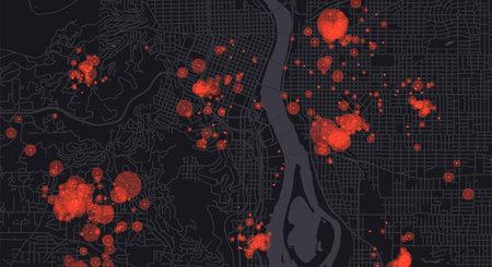 Smart city. Big data map. Urban data analysis. City clusters big data. Citizens activity hotspots. Futuristic monitoring technology background.