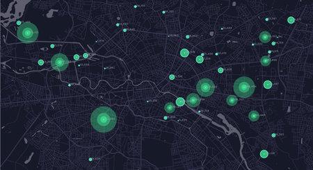 City planning. Urban big data map. Smart city. People activity analysis. Urban clusters hotspots. Megapolis monitoring technology.