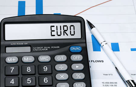 Calculator with the word euro on the display. Money, finance and business concept Stock fotó