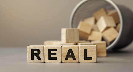 REAL - word concept from wooden blocks. Wooden cubes with letters