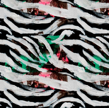 Acrylic zebra print pattern with colored accentual green and pink spots. Stok Fotoğraf