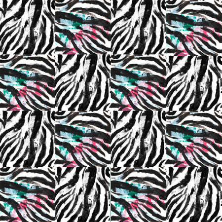 Chess pattern black and white and color zebra print for backgrounds and wallpapers.