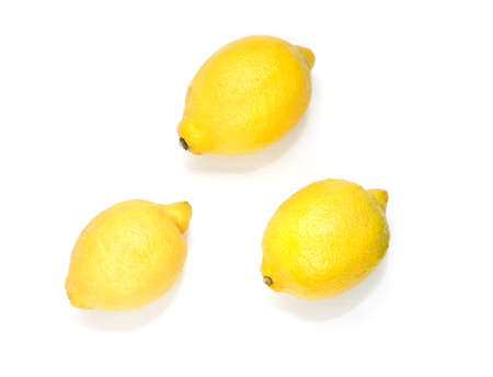 Yellow lemons isolated on the white background.