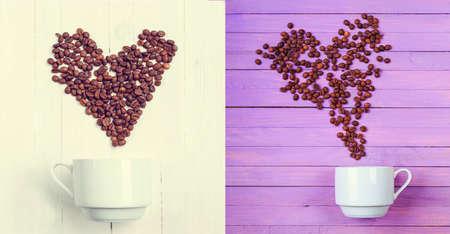Grain of coffee in the form of a heart over a cup. Top view. Postcard. Flat lay two image.