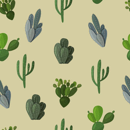 Seamless vector pattern with the image of cacti. Vector image in a flat style.