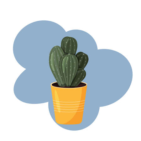 Cactus In A Pot. Vector image in flat style. Colorful drawing of indoor cactus on a blue background. Ilustração
