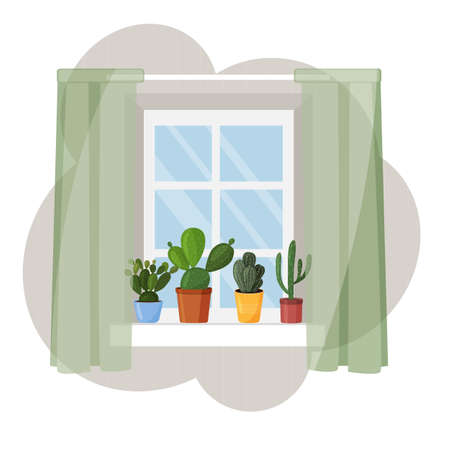 Cacti on the windowsill. Vector image in a flat style. Drawing of a window with curtains and cacti.