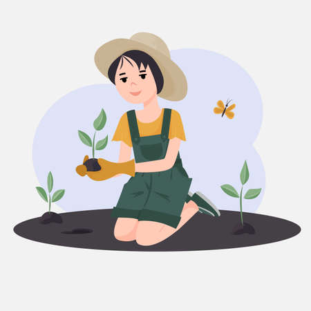 The girl plants plants. Volunteers to work in the garden or park. The concept of raising children to protect nature. Vector illustration
