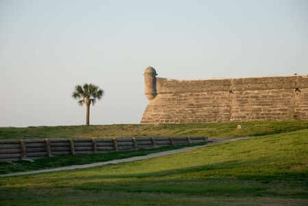 turret: Fort turret and palm tree Stock Photo