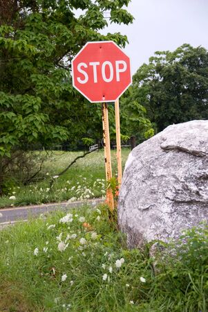 over grown: Stop Sign next to large white rock Stock Photo