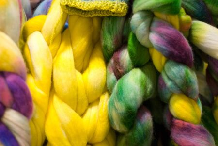 Colorful roving, green and yellow