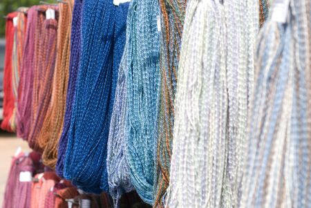 Skeins of colorful yarn