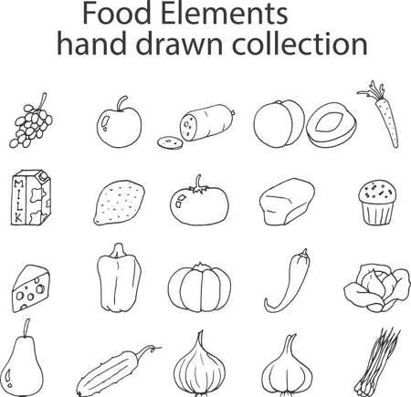 Food Elements hand drawn