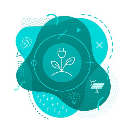 Green energy icon on modern background 일러스트