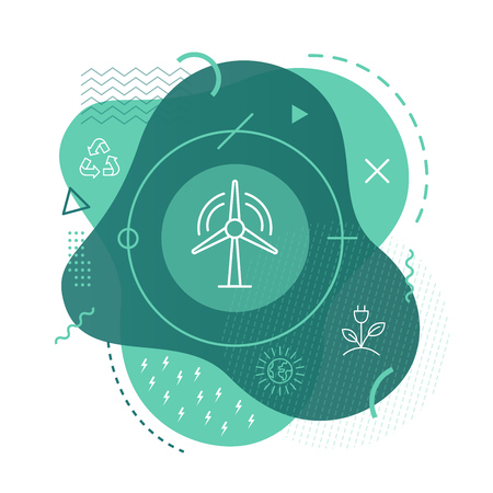 Wind turbine icon on modern background Illustration