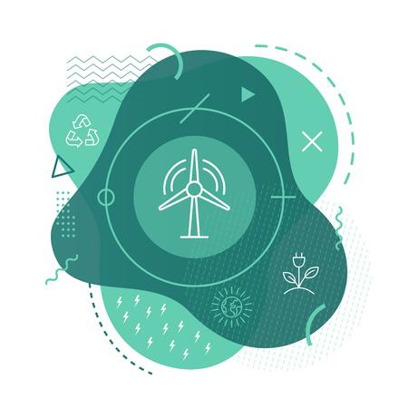 Wind turbine icon on modern background Illustration