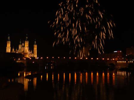 zaragoza: Golden fireworks in Zaragoza Editorial