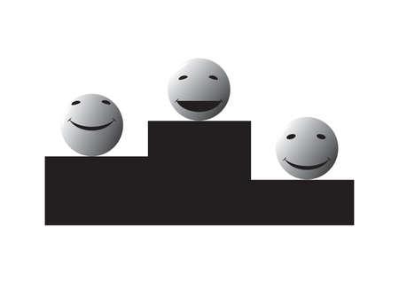 smileys: Grey smileys on a pedestal Illustration