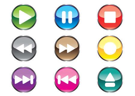 Nine buttons for player Stock Vector - 4678735