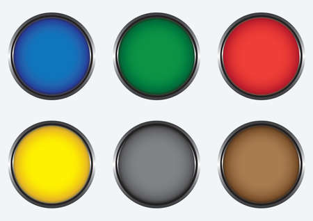 Six colored buttons Vector