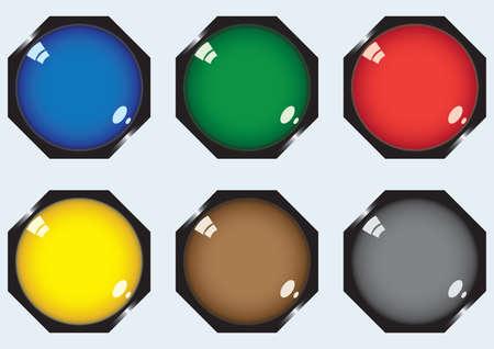 octagonal: Six octagonal buttons Illustration