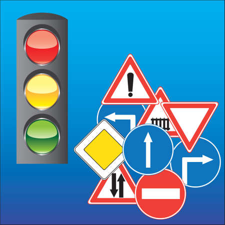 Road signs and traffic lights Stock Vector - 5239709