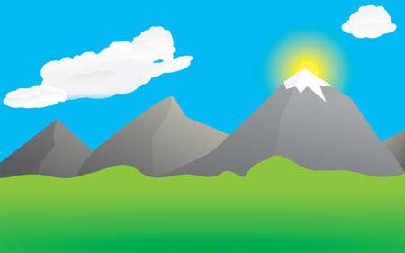 Mountains and valley Vektorové ilustrace