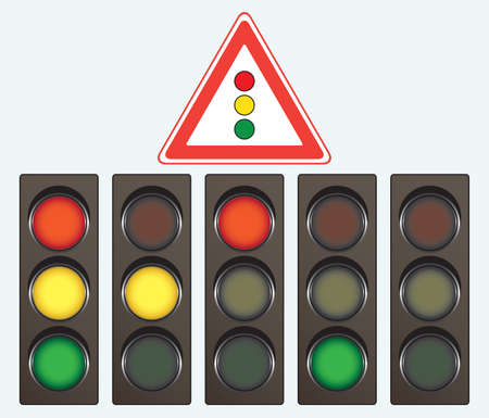 priority: Different traffic light and road sign Illustration